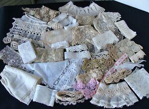 Lot Antique Lace Trims Remnants Collars Dolls Bears Appliques Schiffli Irish Cro