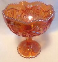 """Imperial """"Carnival Glass"""" Amber Color, Compote Candy Dish W/Pedestal 7-3/4"""" Tall"""