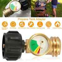Propane Tank Brass Adapter W/ Pressure Meter Gauge for LP Gas Grill BBQ RV