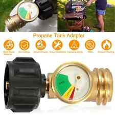 Propane Adapter Tank Gas Grill BBQ RV Pressure Meter Indicator Fuel Brass Gauge