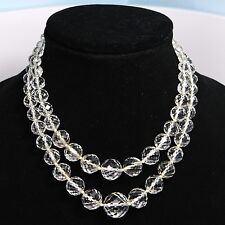 Antique Art Deco 1930's Graduated Faceted Crystal Double Necklace, Sterling