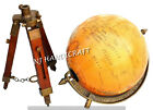 Brass Antique World Map Nautical Table Tripod GLOBE ORNAMENT With Wooden Stand
