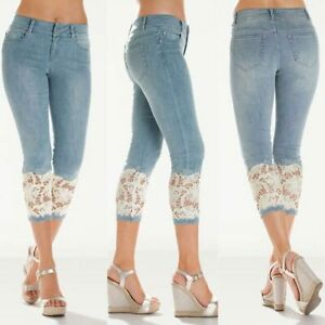 New pants slim denim skinny Womens jeans cropped trousers pencil lace