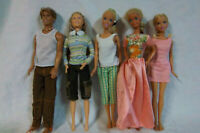 "3 Mattel Girl Barbie Dolls 1 Mattel Boy Doll One Unbranded 12"" Toy"