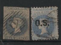 "SOUTH AUSTRALIA 6D IMPERF (ERROR) AND 6D PERF ""OS"" 1856 CV $360"