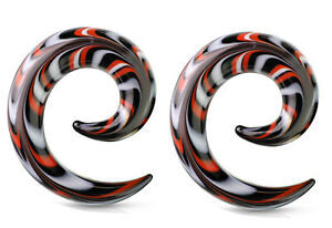 Pair of Red Black Glass Ear Plugs Tapers Spirals Horseshoes Tapers Gauges