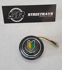 NRG Steering Wheel Center Horn Button Black Carbon Fiber w/ JDM Beginner Logo