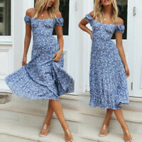 Womens Summer Casual Floral Midi Dresses Off The Shoulder Party Boho Beach Dress
