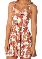 NEW CUTE GINGERBREAD MAN SKATER STRETCH DRESS S/M  XMAS WHITE COOKIES CHRISTMAS