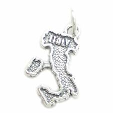 x 1 Italian Country charms Cf2-It Italy map sterling silver charm .925