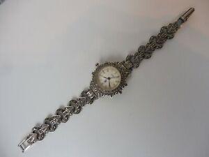 edle, alte Uhr , Armbanduhr , 925 Silber mit Markasit