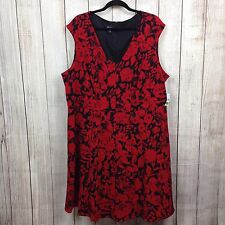 Simply Emma 2X Plus Women's Dress Sleeveless Roses Red Black Floral Work Casual