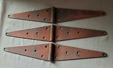 """Lot of 3 Vintage Extra Large 12"""" Steel Strap Hinge Rustic Farm (24"""" Open)"""