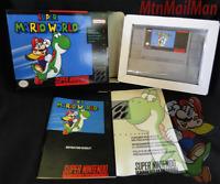 Super Mario World Super Nintendo SNES 1991 Complete CIB Manual,Dust,W Custom Box