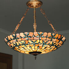 "20"" Tiffany Stained Glass Pendant Lamp Handcrafted Drum Chandelier Lighting P640"