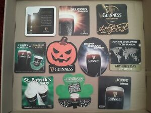 Lot 10 GUINNESS BEER MATS COASTERS RARE HALLOWEEN NZ CHINA GERMANY FRANCE