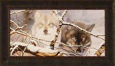 EYES IN THE MIST by Daniel Pierce 16x28 FRAMED PRINT Wolf Wolves Winter Snow