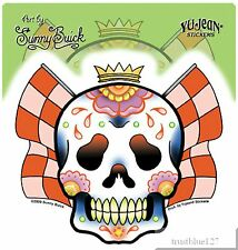 Racing Sugar Skull Vinyl Sticker Checkered Flag Crown by Sunny Buick