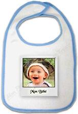 Bavoir Bébé Bleu Cadre Photo Polaroïd personnalisé avec votre Photo