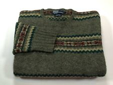 Polo by Ralph Lauren Hand Knit Wool Nordic Men's L Vintage 1990s Sweater Large