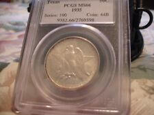 1935 TEXAS COMMEMORATIVE HALF DOLLAR - PCGS MS 66 - NICE STRIKE AND MINT LUSTER