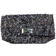 Victoria Secret Clutch Black Sequin Zip Hand Purse Prom Small Bag Embellished