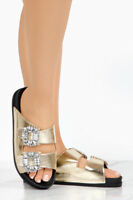 Cape Robbin Moira 40 Gold Be Jeweled Embellished Sandal Platform Slip-on Slide