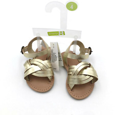 New Crazy 8 Baby Girls Flat Ankle Strap Open Toe Sandals Shoes Size 4,5 Gold
