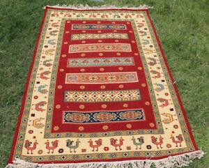 SOUTHWESTERN Wool Navajo Kilim Rug 5x8ft Handmade Red and Beige CAUCASIAN STYLE