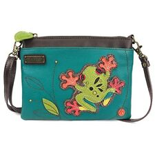 New Chala Mini Crossbody Bag Pleather Small Purse Converts FROG Turquoise Blue