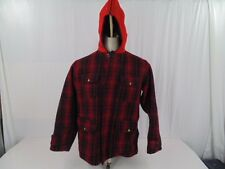 VINTAGE WOOLRICH HUNTING COAT LATE 1950'S RED PLAID # 501 SIZE 42 MENS LARGE
