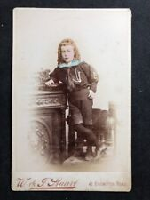 Rare Victorian Cabinet Card: Boy Colour Tinted: Long Ginger Hair: London: 2 of 2