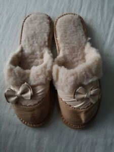 Ladies/womens Natural Leather Slippers