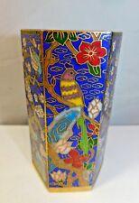 Vintage Cloisonné Vase Tall Floral Birds Blue Multi Color