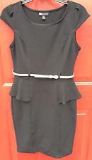 Carole Little Black Dress Sz 6 Gold Belt Office Wear Cap Short Sleeve