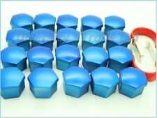 Universal Blue Wheel Nut Covers 17mm Hex with Removal Tools Set of 20