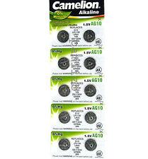 AG10 x10  Alkaline Batteries By Camelion SG10 G10 SR54 LR54 LR1130 189 387 389
