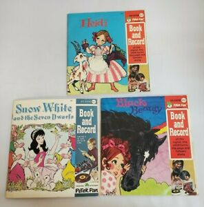 Vintage Peter Pan Record & Book Snow White, Heidi, and Black Beauty 45rpm Lot 3