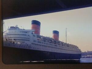 Original 1950 Red Border Slide Cunard Ocean Liner RMS Queen Elizabeth New York