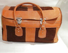 Vintage M.R. Canoa Industria Argentina Leather Pony Hair Weekender/Carry On Bag