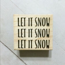 Let It Snow Rubber Stamp Wood Mounted Hero Arts USA Made Christmas Holiday Craft