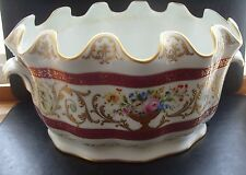 Vintage quality French hand painted large flower pot-raised gold decoration