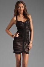 BCBG MAX AZRIA Keylene Ruched Sheer Black Combo Nude Cocktail Dress Sz XS New