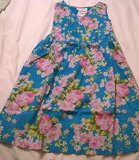 BNWT Jojo Maman Bebe size 6 blue floral pink rose maternity skater dress cotton