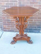 Victorian Antique Walnut carved nude Lady motif claw footed parlor table