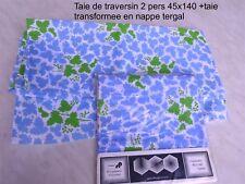 TAIE DE TRAVERSIN 1 PERSONNE 45 X 140 fleuri bleu et blanc neuf