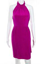Carmen Marc Valvo Pink Fuchsia Ruffle Halter Dress Size 4 New $525 10294209