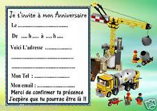 5 cartes invitation anniversaire  Lego Chantier 02 d'autres articles en vente !