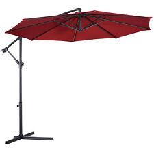 10 Ft Hanging Umbrella Patio Sun Shade Offset Outdoor Market W/ Cross Base Red
