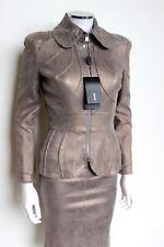 £ 3k NEW Jitrois metallic beige Stretch Leder Jacke Anzug mit Rock f36 UK 6-8